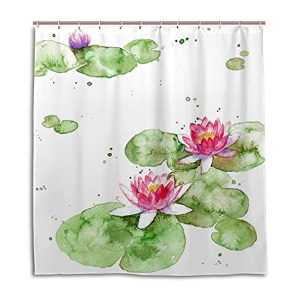Amazon Chinese Ink Lotus Shower Curtain 66 X 72 Inch Water