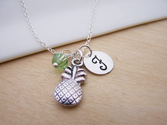 e1e997e5d0 Amazon.com: Pineapple Necklace - Personalized Initial Sterling Silver  Custom Jewelry - Gift For Her: Handmade
