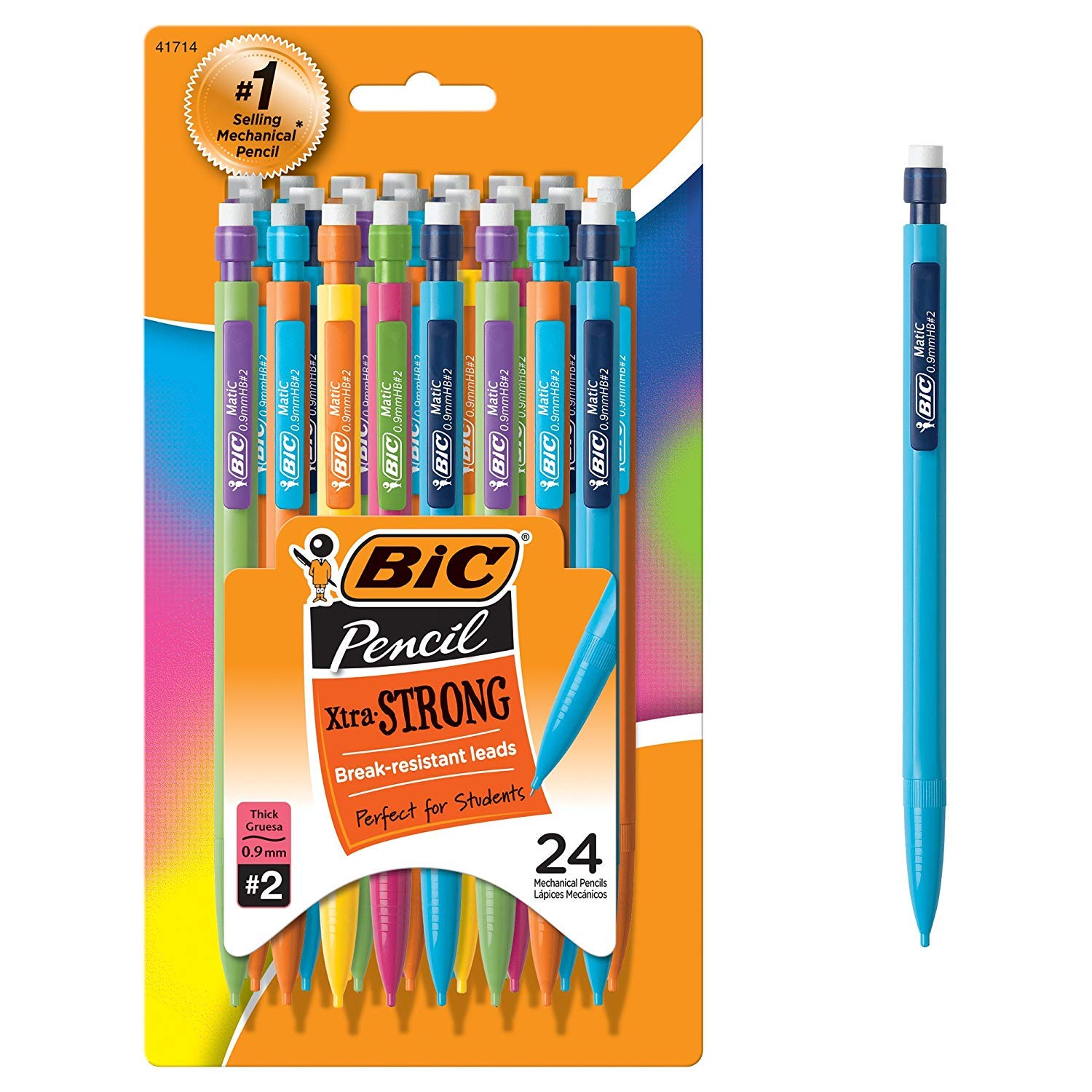 BIC Xtra-Strong Mechanical Pencil, Colorful Barrel, Thick Point (0.9mm), 24-Count (MPLWP241) (48 Ct)