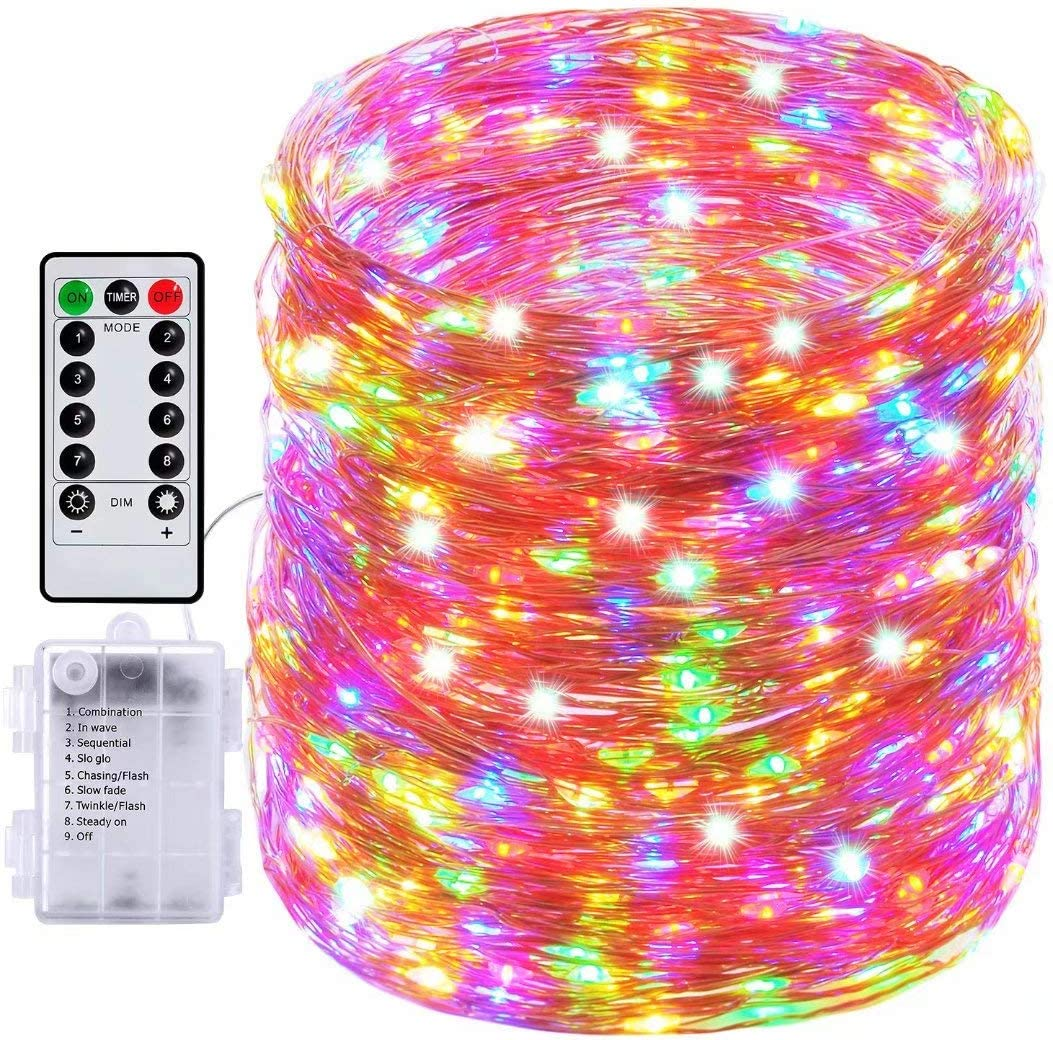 Fairy Lights, 66ft 200 Led Outdoor String Lights, Waterproof Battery Operated Copper 8 Lighting Modes, Chirstmas Party Bedroom Garden(Multiple Colour)