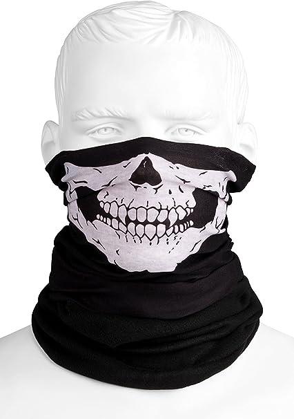 Purecity Totenkopf Multifunktionstuch Polar Mit Fleece Skull Motiv Schlauchtuch Halswärmer Schwarz Halstuch Mit Totenkopf Skelettmasken Für Motorrad Fahrrad Ski Paintball Gamer Skull Mask Bekleidung
