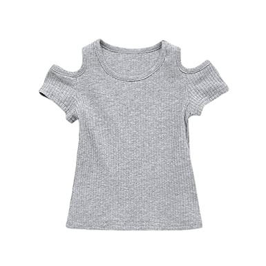 Infant Baby Kids Girls Off Shoulder Solid Tops T Shirt Summer Clothes Outfits