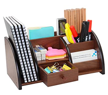 PAG Office Supplies Wood Desk Organizer Book Shelf Pen Holder Accessories  Stroage Caddy With Drawer,