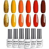 AILLSA Fall Winter Orange Gel Nail Polish Colors Set, 6 Colors Gold Glitter Gel Polish Kit Autumn Yellow Nail Gel Polish…