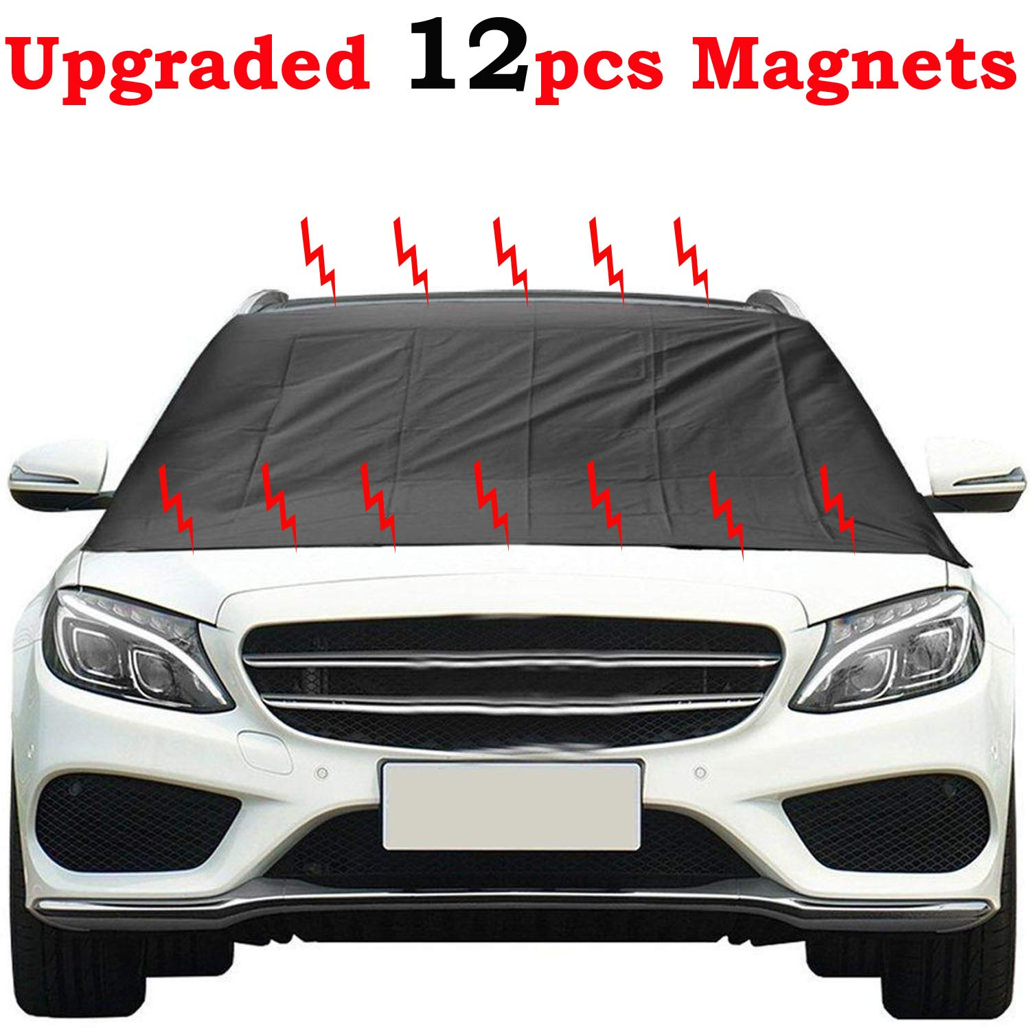 Magnetic Windshield Snow Cover with 12 PCS Powerful Magnets - 2018 Upgraded Windshield Snow Ice Cover - Extra Large for Most Car SUV Truck Kribin