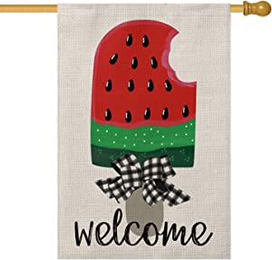 AVOIN Watermelon Ice Cream Popsicle House Flag Vertical Double Sided, Welcome Summer Buffalo Check Plaid Bow Flag Yard Outdoor Decoration 28 x 40 Inch