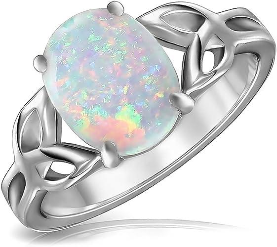 Ovale violet opale de feu Bague Pour Femmes Fiançailles Fête De Mariage Bijoux nous
