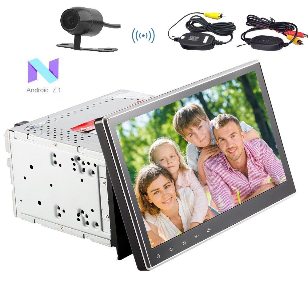 ダッシュGPSナビゲーションラジオのステレオBluetoothヘッドユニットのサポートWIFIのUSB / SD SWC FM AMラジオRDSワイヤレスバックアップカメラでアンドロイド7.1クアッドコア大型10.1インチカーDVDプレーヤーHD 1024×600の解像度 B075XMPCDK