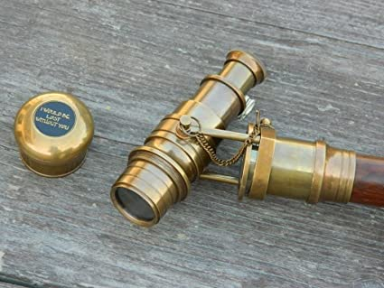 Antiques Gentle Nautical Antique Brass Marine Telescope Spyglass With Anchor Box Suitable For Men And Women Of All Ages In All Seasons Maritime