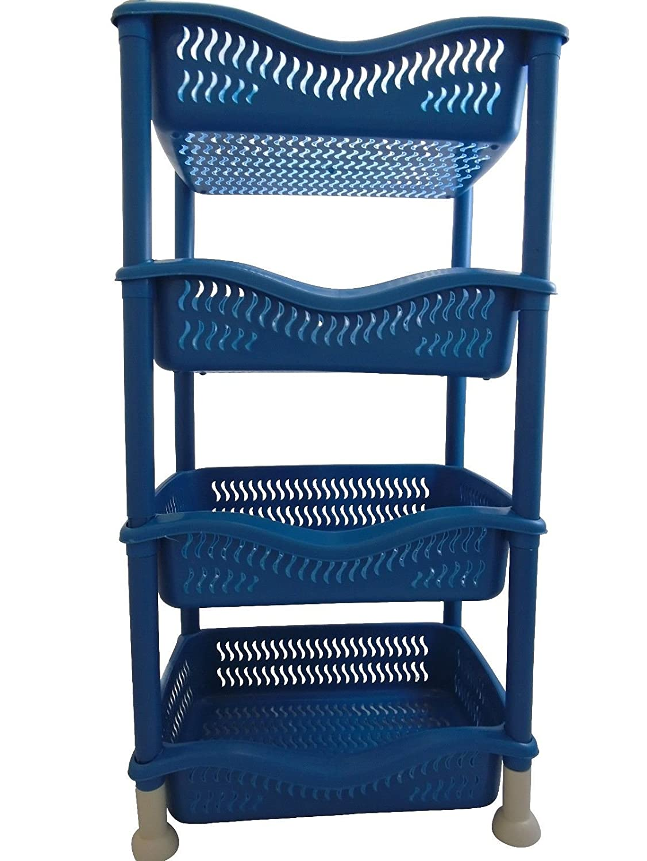 4Tier Stackable Rectangular Vegetable Rack kitchen Garage Storage Utility (Grey) THL