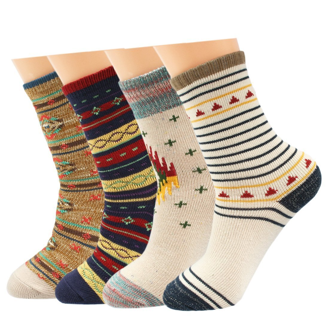 kilofly Mix & Match Colorful Cotton Crew Socks Value Pack, Set of 4 Pairs FTW376set4