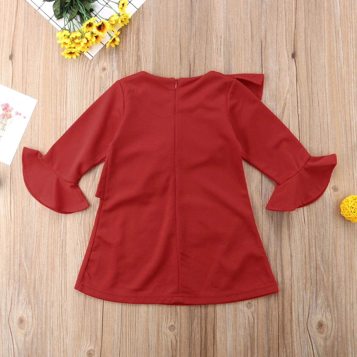 mettime US New Baby Infant Girls Flare Long Sleeve Incliend Ruffles Flower Bodycon Dress Bright Red Zipper Closure