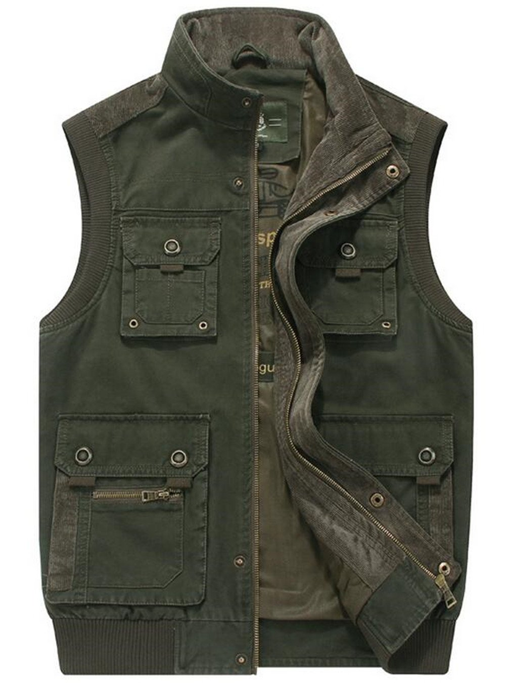 JEWOSOR Men's Military Gilets Vest Outdoor Multi Pockets Sleeveless Jacket Top Fishing Hunting Shooting Hiking (US XXX-Large/Tag Asia 6XL, Amry Green)