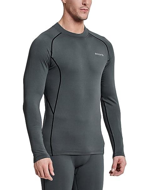 Baleaf Men s Thermal Compression Shirts Fleece Baselayer Long Sleeve Top  Mock Neck Grey Black Size 1b8c9eb09
