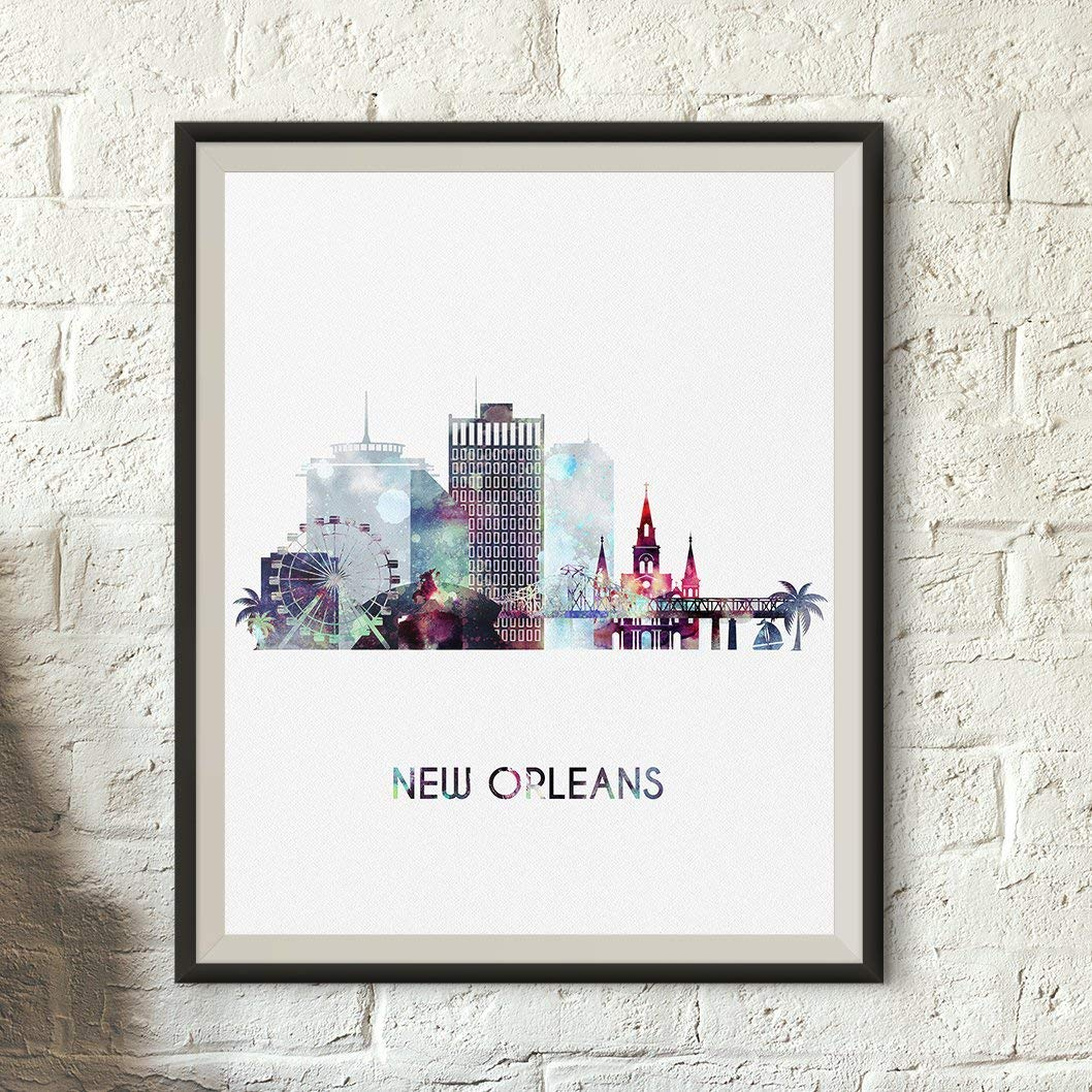 New Orlean art print, New Orleans watercolor poster, Art gift, Louisiana Home Decor, Typography art, Wall Decoration, Unframed print