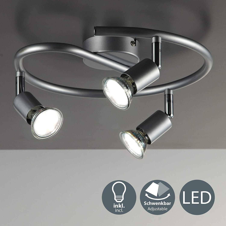 B.K.Licht - Lámpara de techo con 3 focos LED GU10, focos ajustables y giratorios para interiores, de luz blanca cálida , 3W y 250 lúmenes, 3000K, forma de anillo, color titanio, forma de anillo, espir