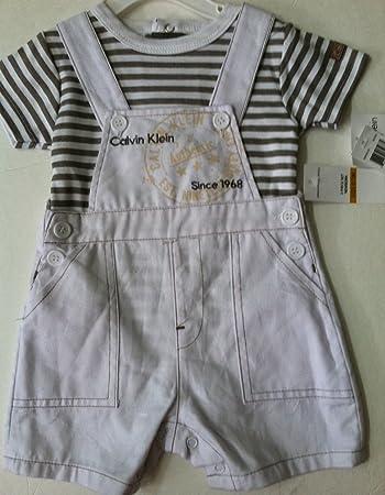 705fee5fd225b Amazon.com  Calvin Klein ~ White Overall with Khaki Striped Onesie ...
