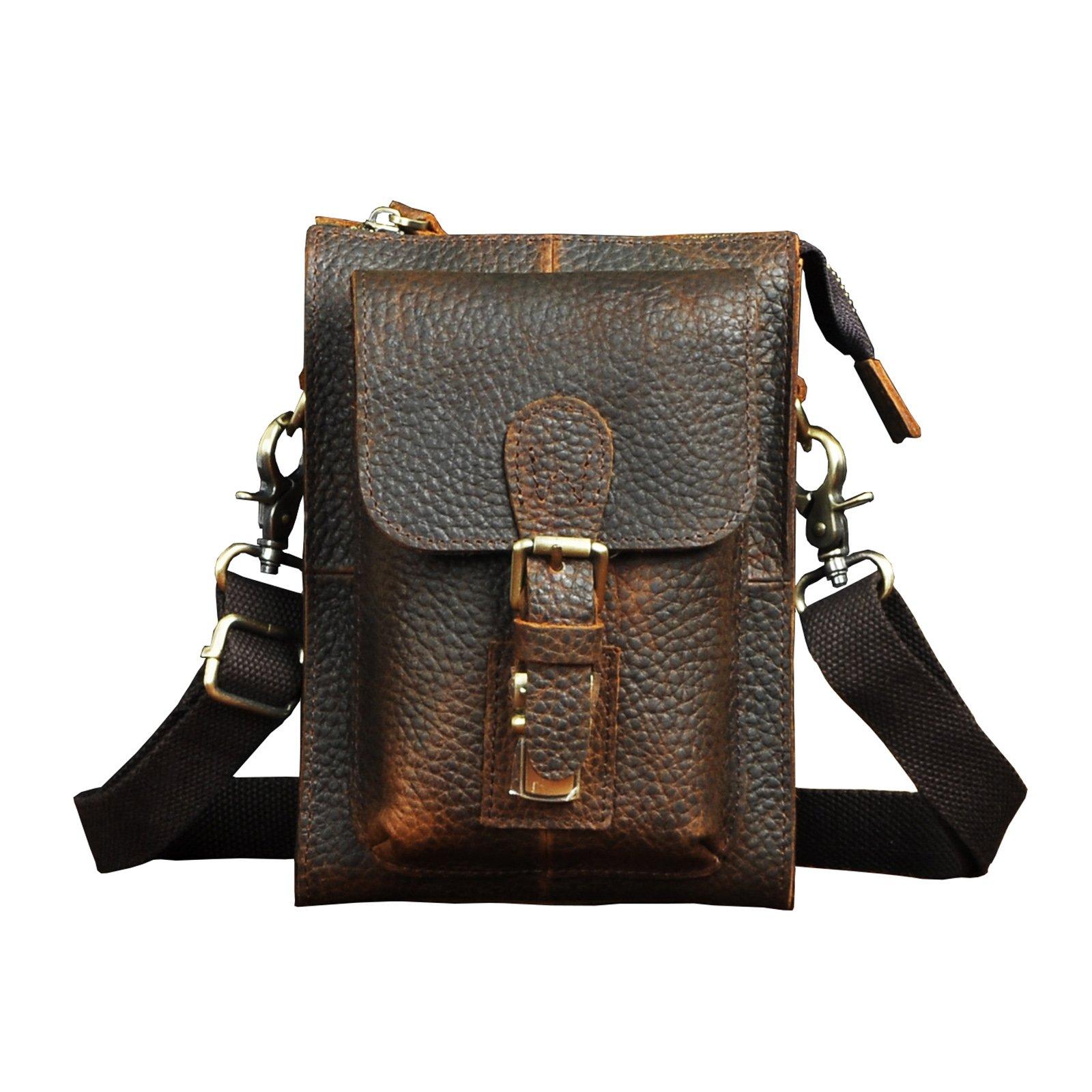 Le'aokuu Mens Genuine Leather Coffee Fanny Small Messenger Shoulder Satchel Waist Bag Pack (The 6402 Dark Brown 2)