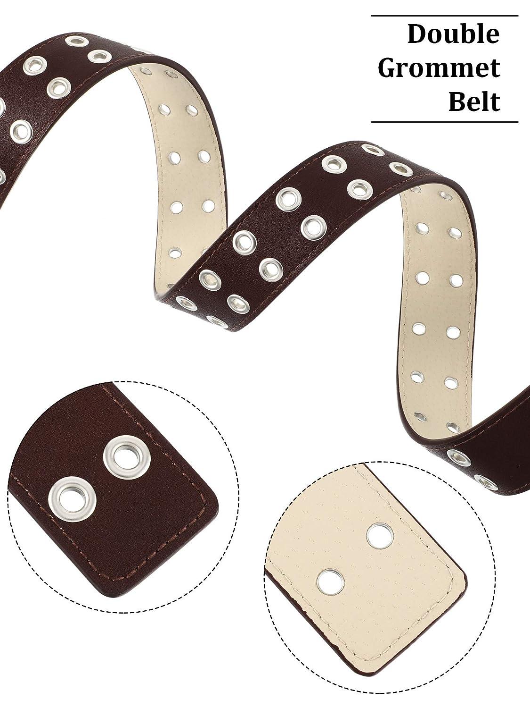 2 Piezas de Cintur/ón de Cuero de Doble Ojal Cintur/ón de Ojal con Tachuelas y Puntas G/óticas
