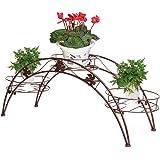 Portavaso per piante, in metallo, con 3 supporti, colore: bronzo