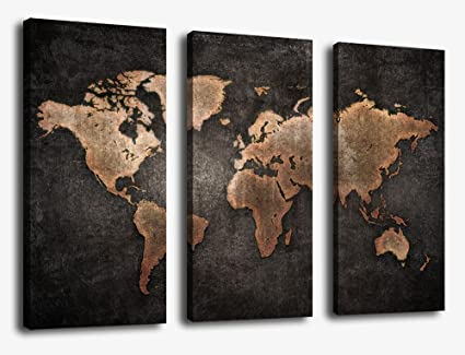 Canvas Wall Art World Map Wall Decor   3 Piece Large Map Canvas Art Vintage  Grunge
