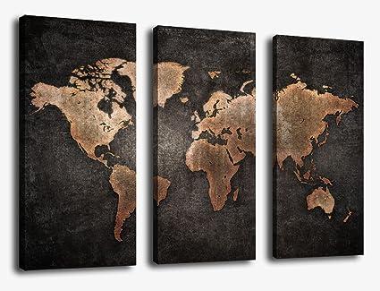 Amazoncom Canvas Wall Art World Map Wall Decor Piece Large Map - 3 piece world map wall art