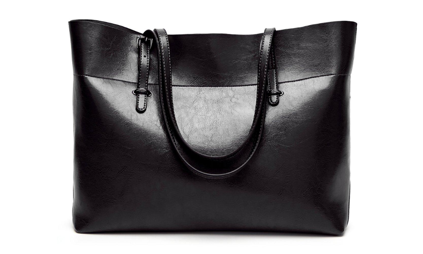 Women's Vintage Fine Fibre Genuine Leather Bag Tote Shoulder Bag Handbag Model Sie Black