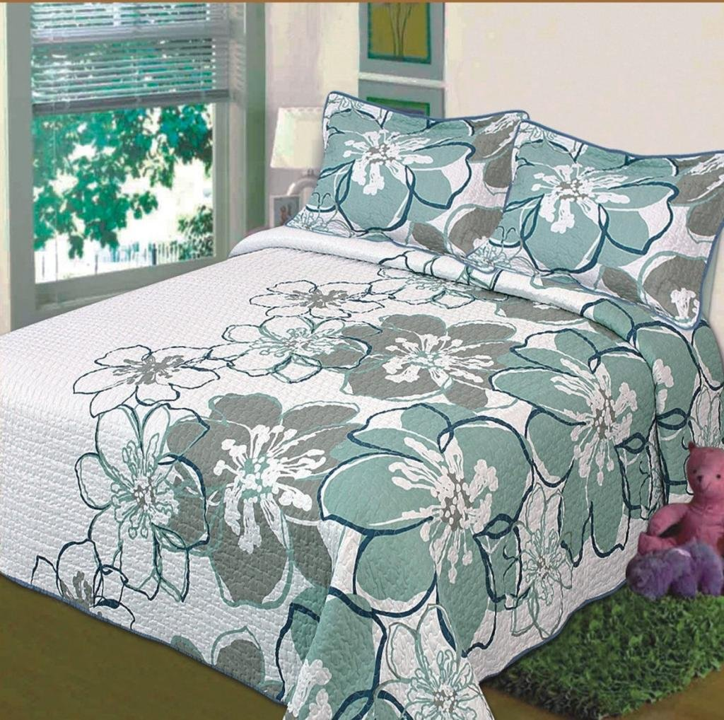 Legacy Decor 3 PC Quilted Bedspread Coverlet Queen Size White with Teal Soft Microfiber Sage and Blue Flowers