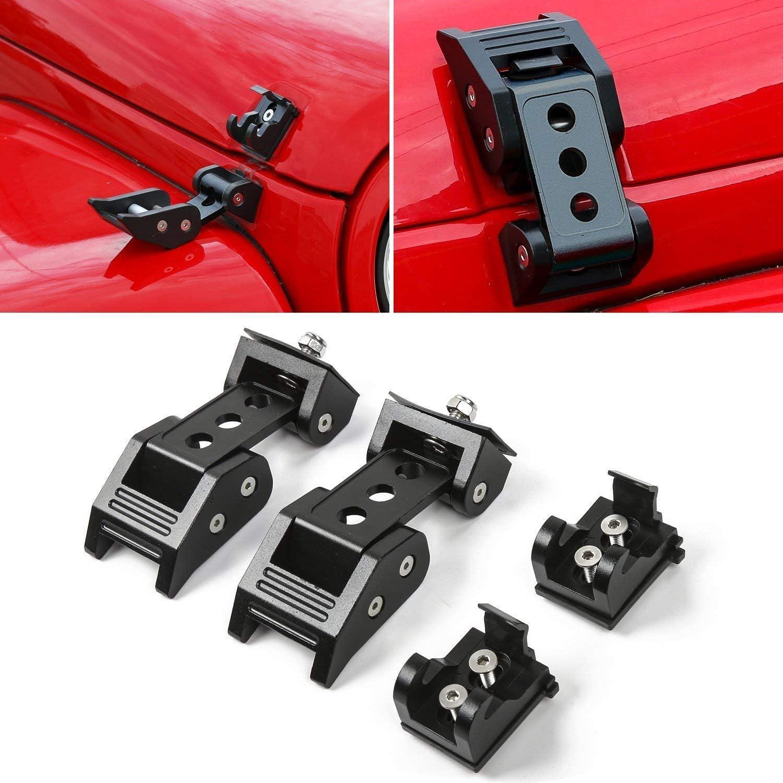 2Pcs Black Stainless Steel Latch Locking Hood Catch Latches Kit for Jeep Wrangler JK JKU 2007-2017 JL 2018