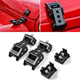 RT-TCZ Black Stainless Steel Latch Locking Hood Catch Kit For 2007-2018 Jeep Wrangler JK JKU