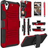 HTC Desire 626s Case, HTC Desire 626 Case, Elegant Choise Heavy Duty Hybrid Dual Layer Armor  Holster Case with Kickstand and Belt Swivel Clip for HTC Desire 626 (A Red/Black)