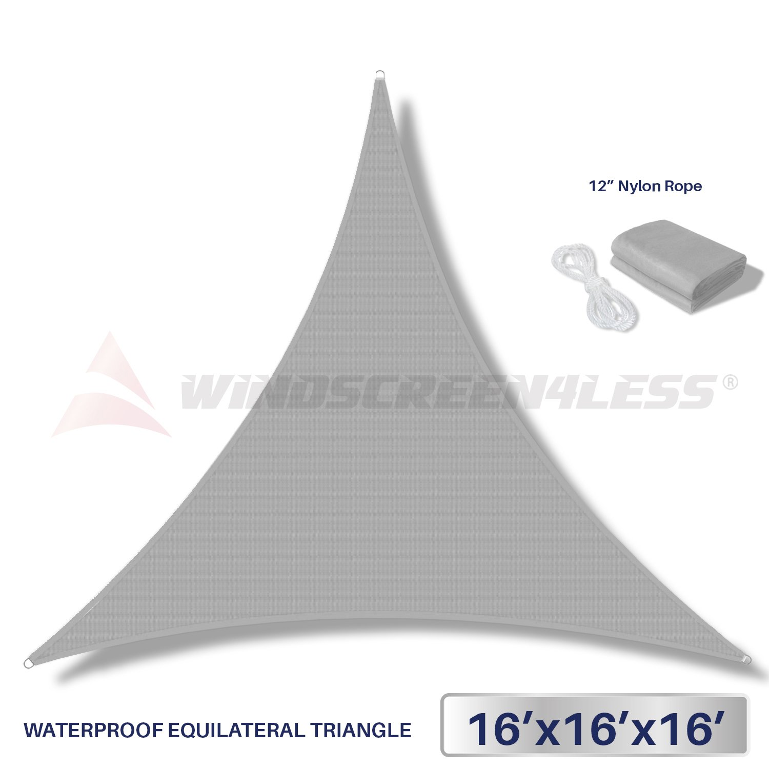 Windscreen4less Terylene Waterproof Sun Shade Sail UV Blocker Triangle Sunshade Patio Canopy Sail 16' x 16' x 16' in Color Light Grey