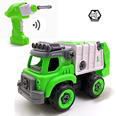 pop mart Take Apart Toys RC Sanitation Truck Car Remote Control DIY Vehicle Green RC Garbage Recycling Car Toy Assemable Early Educational Toddler Toy Set Powered Car Toy for Children Boys Girls Kids: Toys & Games [5Bkhe1105847]