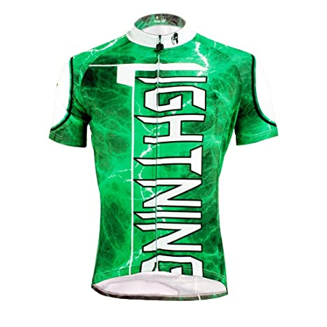 Amazon.com   LAOYOU Green LIGHTNNG Mens Cycling Jersey Size S To 6XL ... 52998a232