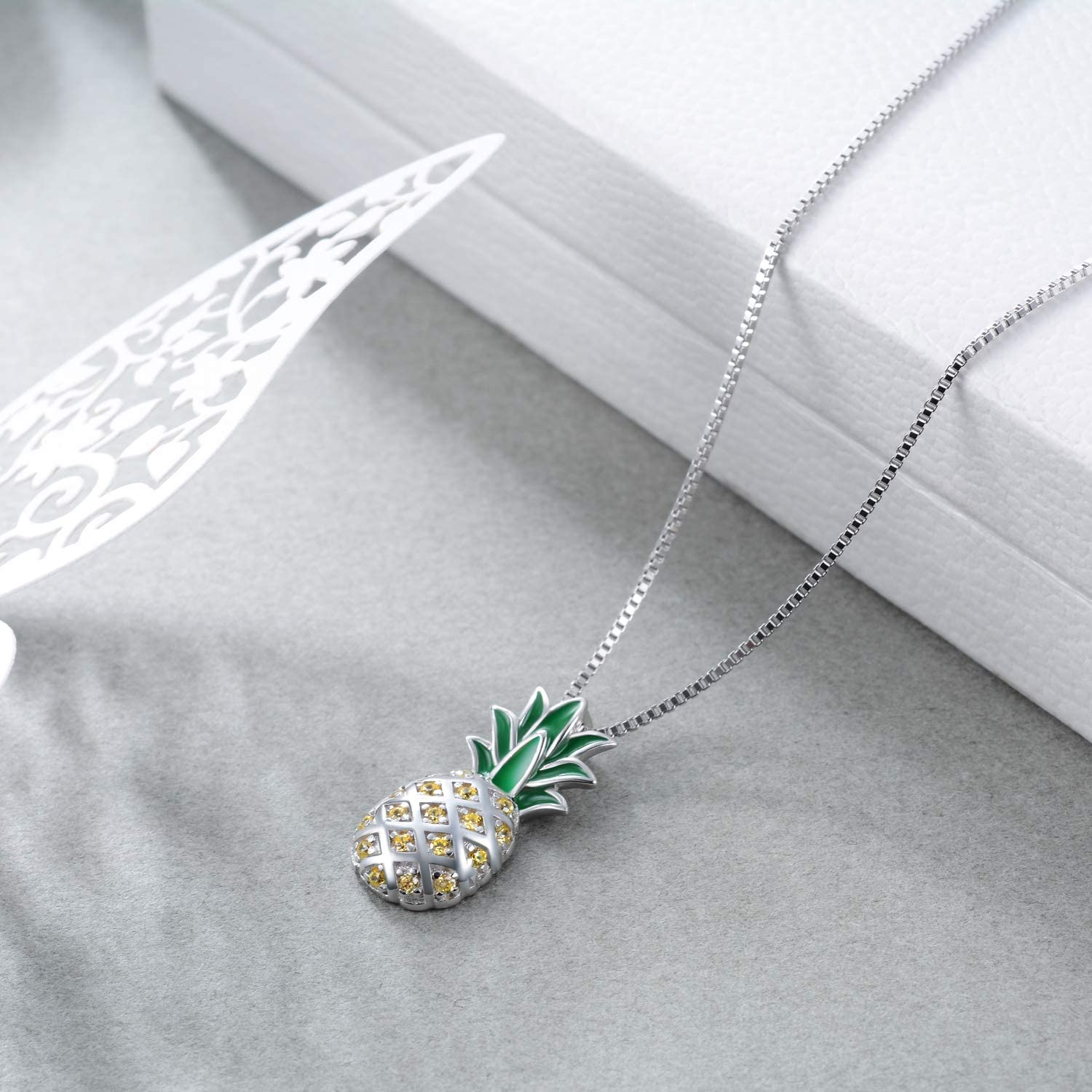 Sterling Silver Pineapple Pendant Necklace Jewellery Gift for Women Teens Girls