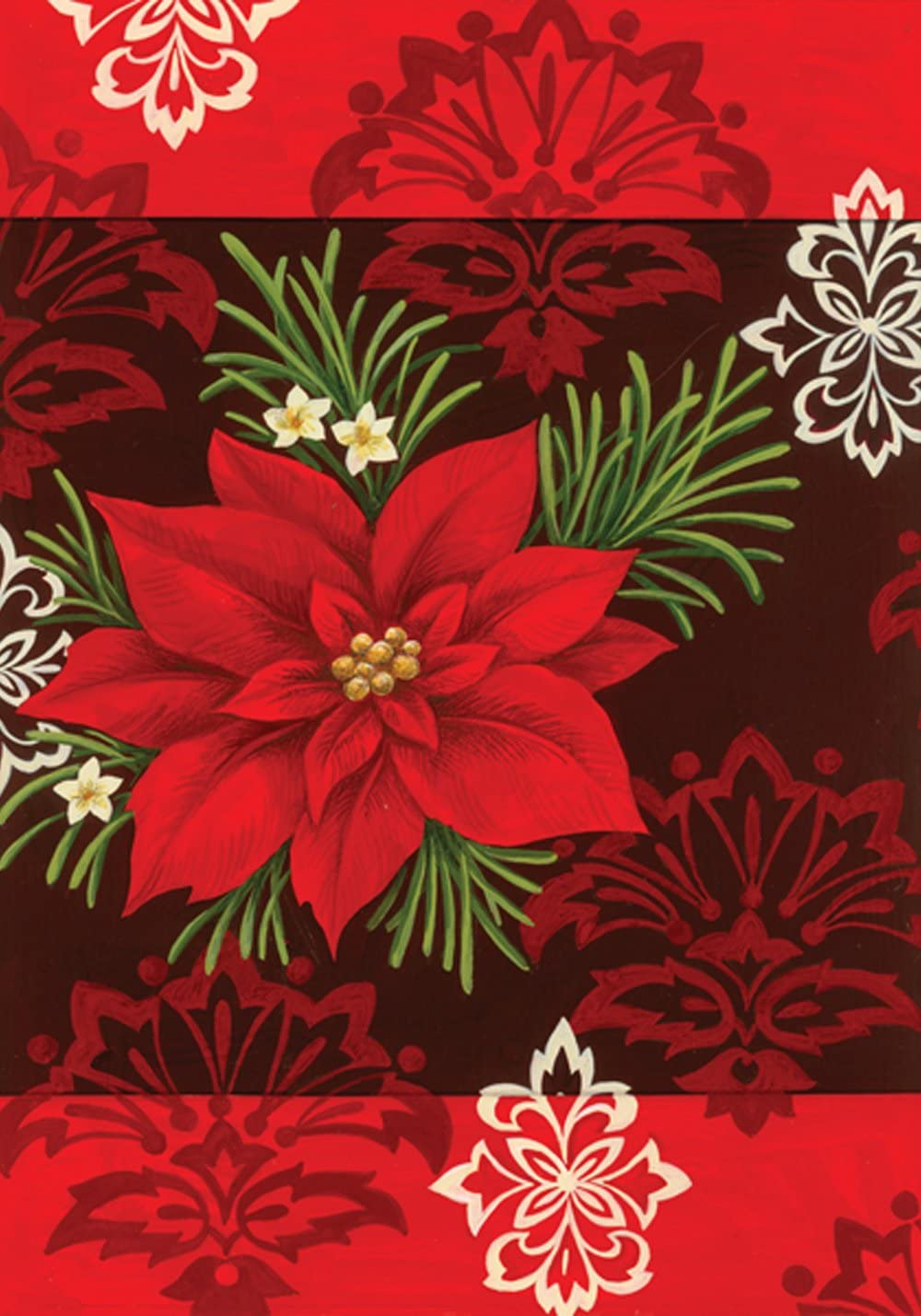 Toland Home Garden Red Damask 12.5 x 18 Inch Decorative Colorful Poinsettia Christmas Flower Garden Flag - 110571
