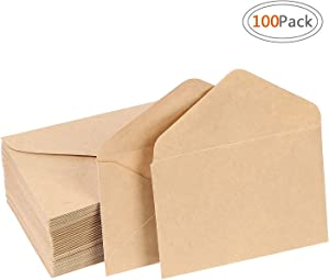 Road Brown Kraft Envelops Small Gummed Seal Envelopes (100 Pack) with Classic Flap for Wedding, Birthday Party Gift Card Suppli, Kraft Envelops for Home Office Supplies (4.375 x 5.75)