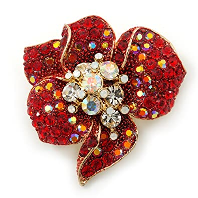 Jewelry & Watches Stunning Brooch Gold Red Clear Rhinestones Flower Nice