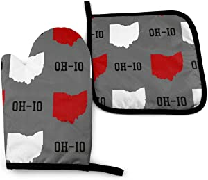 KZEMATLI Ohio State Gray Heat Resistant Oven Mitts + 1 Cotton Pot Holders Non Slip Oven Gloves for Kitchen Cooking Baking, BBQ