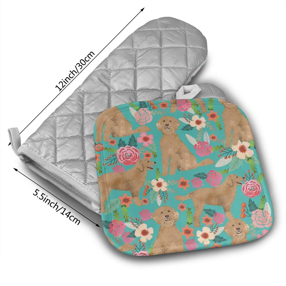 Amazoncom Xayeu Golden Doodle Floral Dog Oven Mitts With