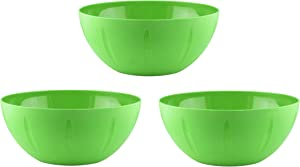 YBM Home 10-Inch Plastic Serve Mixing Bowls Set for Everyday Meals - Ideal for Cereal, Snacks, Popcorn, Salad, and Fruits, Set of 3 - Microwave Safe, Green
