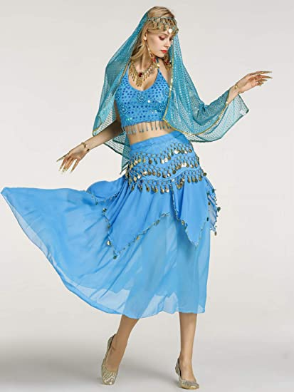 648ab7a69f Zengbang Ladies Belly Dance Indian Dance Performance Costume Skirt Set Crop  Top Camisole Lake Blue(2PCS): Amazon.co.uk: Clothing