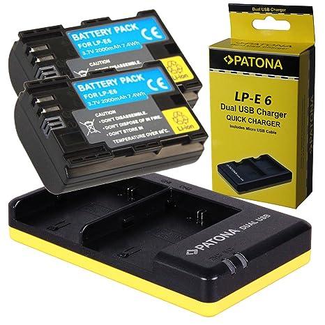 Dual Cargador PATONA + 2x Bateria para Premium Canon LP-E6 EOS 70D 60D 60Da