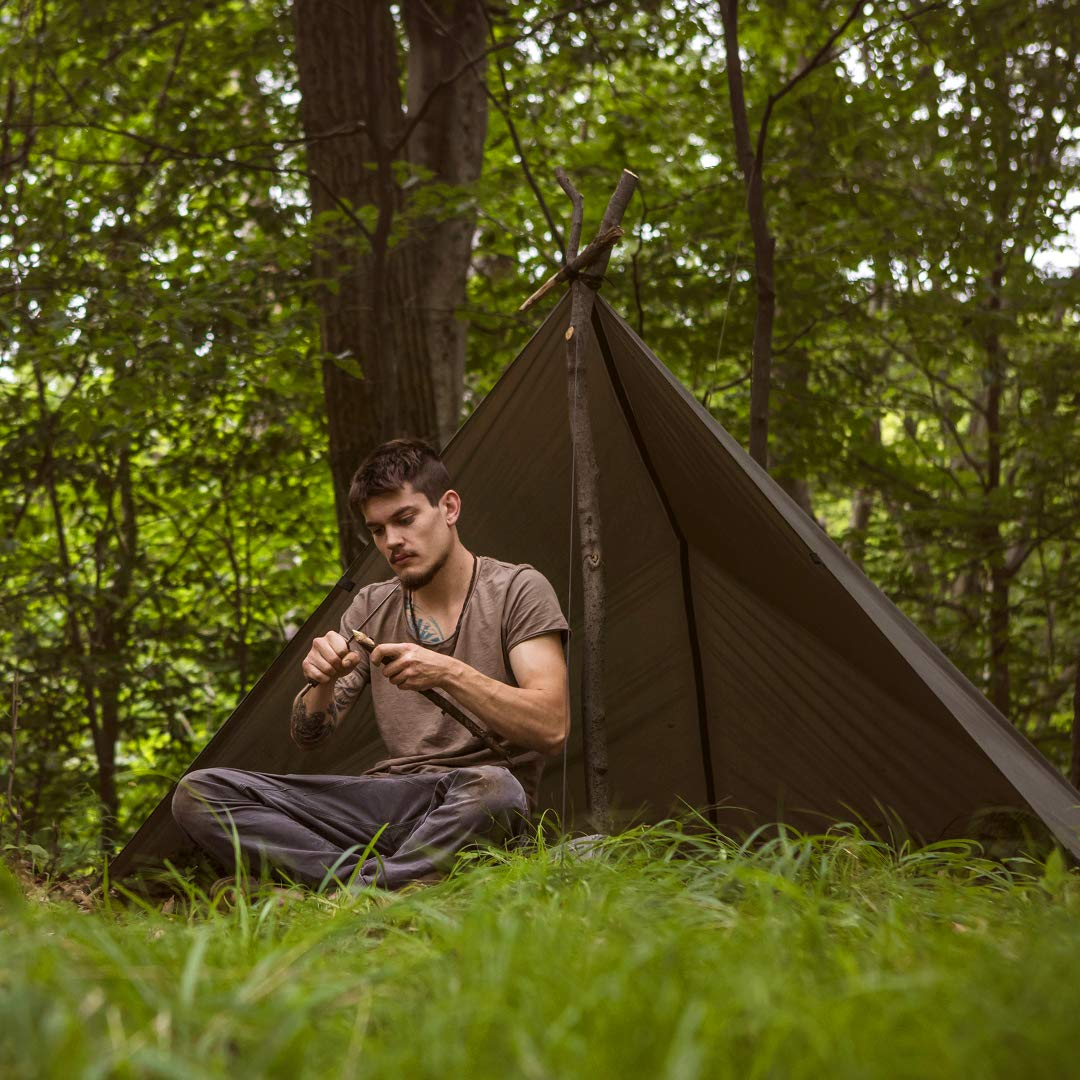 Aqua Quest Safari Tarp Kit - 100% Waterproof Lightweight SIL Nylon Bushcraft Camping Shelter - 10x7 Olive Drab Kit by Aqua Quest