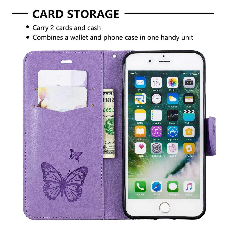 Protection Portefeuille en Cuir avec Fonction Support et Emplacement de Cartes Coque Etui Housse pour Apple iPhone 7 Plus // 8 Plus DENDICO Coque iPhone 7 Plus // 8 Plus Gris