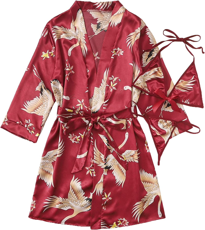 Verdusa Womens 3pack Satin Lingerie Set with Short Robe