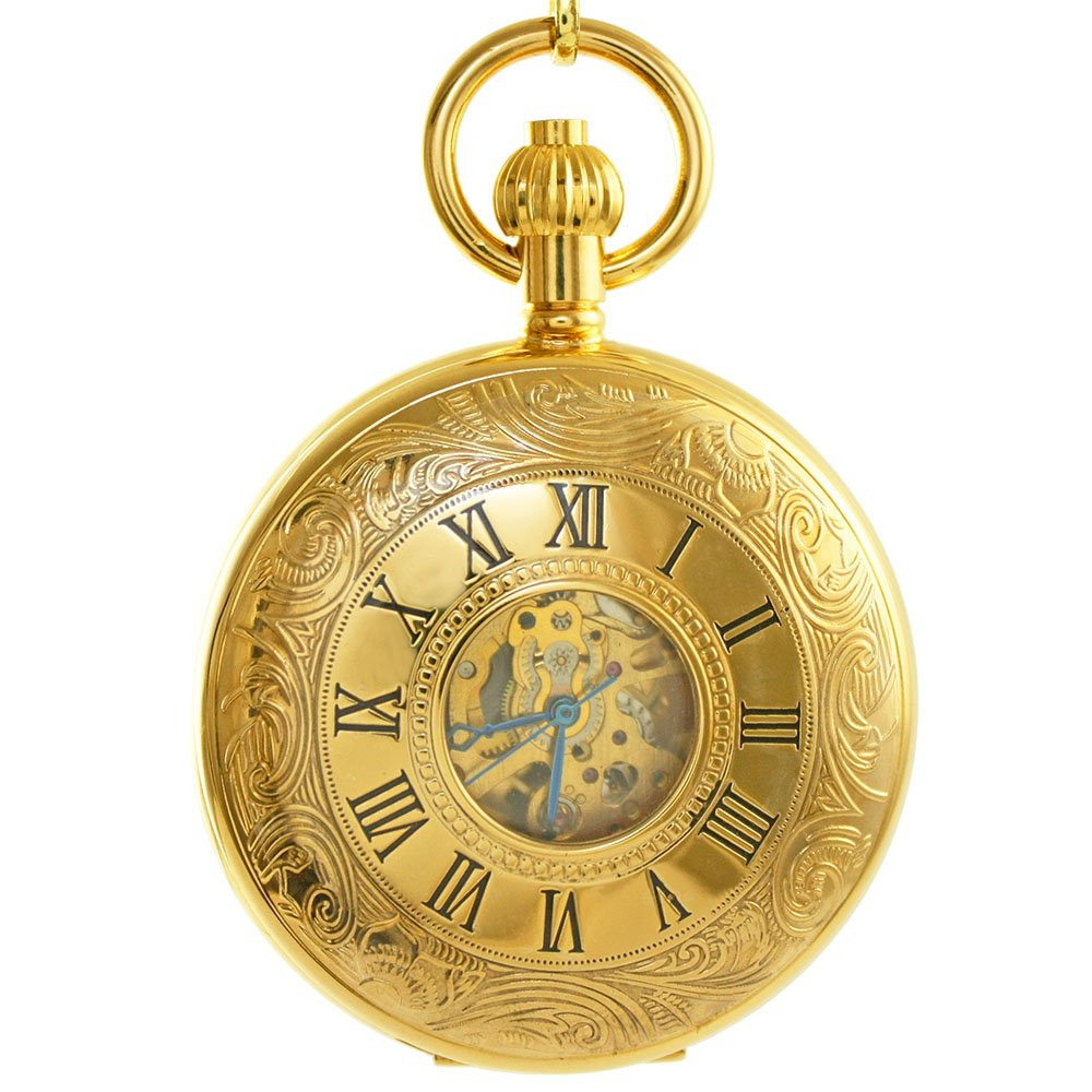 OGLE Vintage Roman Gold Copper Double Open Cover Chain Fob Self Winding Automatic Mechanical Pocket Watch/Black Dial (Black Dial) by OGLE