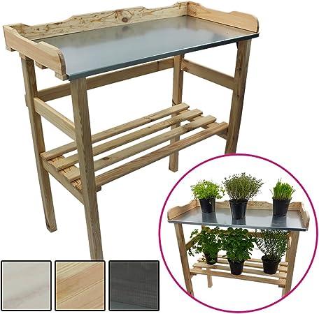 Mesa de madera para jardinería 82 x 78 x 38 cm - Mesa para el jardín de germinación de madera FSC® impregnada y superficie de trabajo de metal galvanizado, Color:Natural: Amazon.es: Hogar