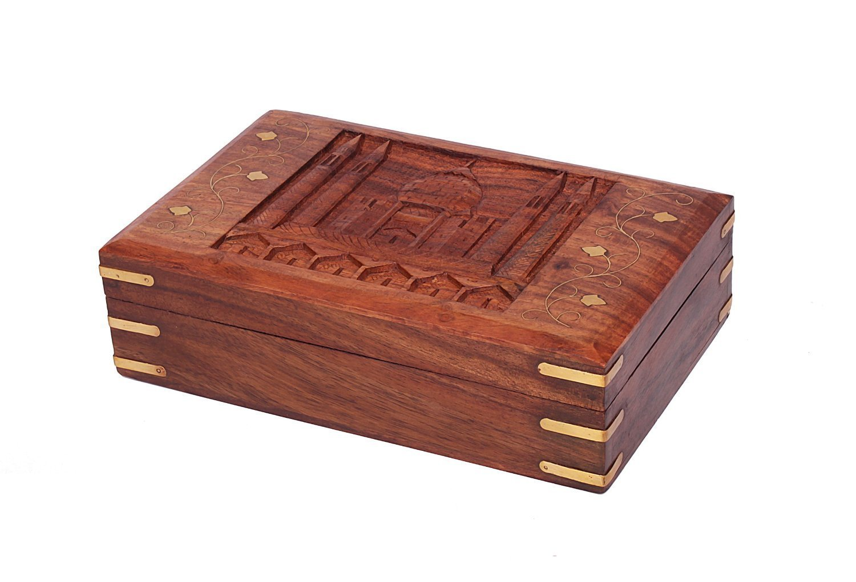 Christmas Thanksgiving Gifts Wooden Jewelry Trinket Box Organizer Keepsake Storage Chest with Hand Carved Worlds Seventh Wonder ''Taj Mahal'' Design