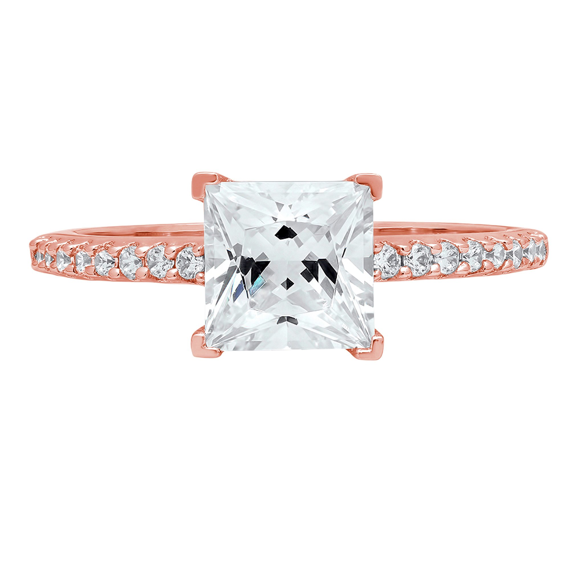 1.66ct Brilliant Princess Cut Accent Solitaire Engagement Wedding Bridal Promise Ring in Solid 14k Rose Gold for Women, 6